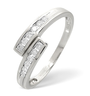 Cross-Over Ring 0.20CT Diamond 9K White Gold