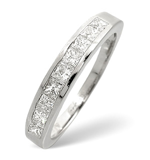 Half Eternity Ring 0.70CT Diamond 9K White Gold