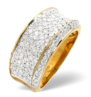 Mens Ring 0.94CT Diamond 9K Yellow Gold