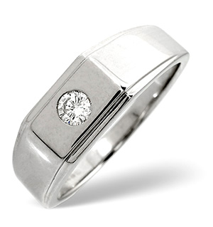 Mens Ring 0.20CT Diamond 9K White Gold