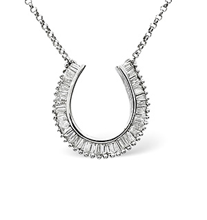 Horse-Shoe Necklace 0.50CT Diamond 9K White Gold