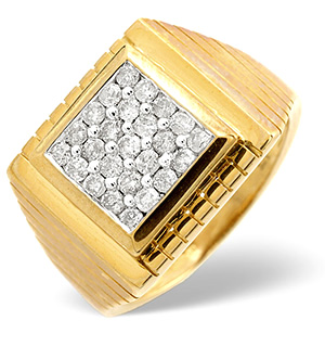 Mens Ring 0.50CT Diamond 9K Yellow Gold