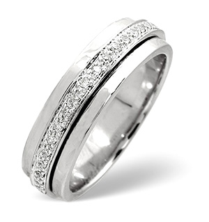 Spinners Ring 0.25CT Diamond 9K White Gold