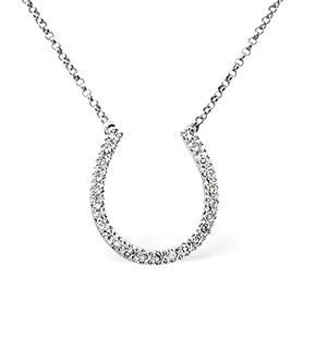 Horse-Shoe Necklace 0.25CT Diamond 9K White Gold