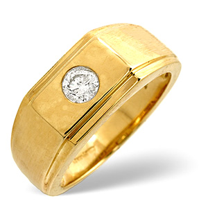Mens Ring 0.20CT Diamond 9K Yellow Gold