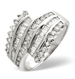 Big Fancy Ring 1.00CT Diamond 9K White Gold