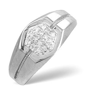 Mens Ring 0.16CT Diamond 9K White Gold