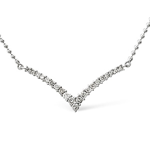 Wishbone Necklace 0.50CT Diamond 9K White Gold