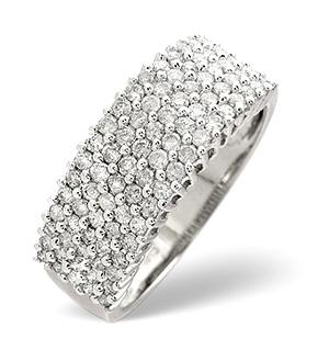 Pave Ring 0.70CT Diamond 9K White Gold