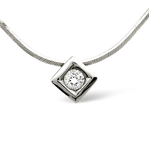 Solitaire Necklace 0.16CT Diamond 18K White Gold