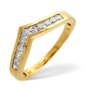 Wishbone Ring 0.27CT Diamond 9K Yellow Gold