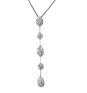 Drop Necklace 0.76CT Diamond 9K White Gold