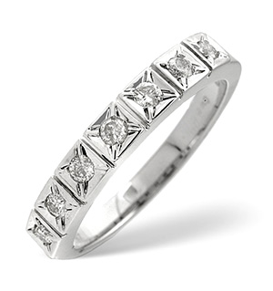 Half Eternity Ring 0.25CT Diamond 9K White Gold