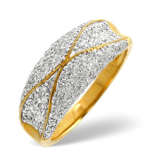 9K Gold Pave Set Diamond Ring