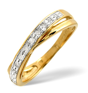 Cross-Over Ring 0.08CT Diamond 9K Yellow Gold
