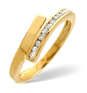Cross-Over Ring 0.10CT Diamond 9K Yellow Gold