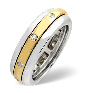 Spinners Ring 0.10CT Diamond 2-Tone