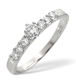 Solitaire With Shoulders Ring 0.33CT Diamond 9K White Gold