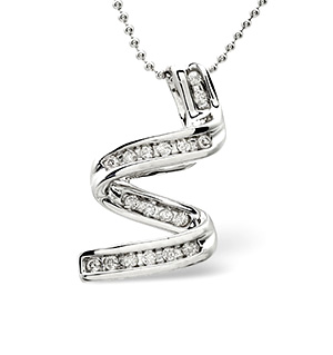 Twirl Necklace 0.16CT Diamond 9K White Gold