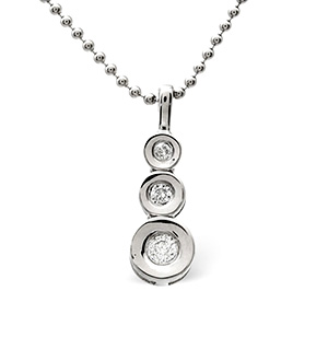 Trilogy Necklace 0.13CT Diamond 9K White Gold