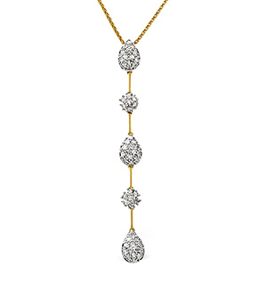 Drop Necklace 0.76CT Diamond 9K Yellow Gold