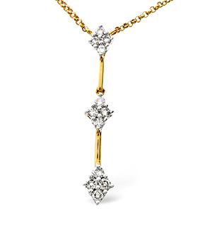 Drop Necklace 0.25CT Diamond 9K Yellow Gold