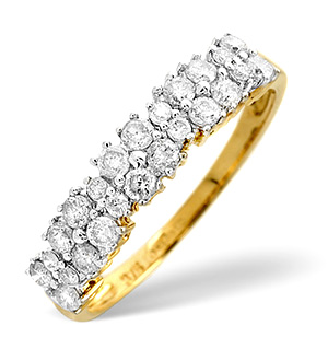 Half Eternity Ring 0.44CT Diamond 9K Yellow Gold