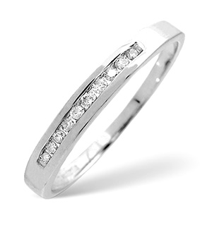 Half Eternity Ring 0.10CT Diamond 9K White Gold