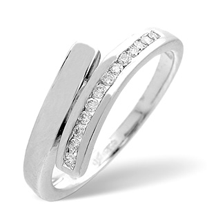 Cross-Over Ring 0.10CT Diamond 9K White Gold