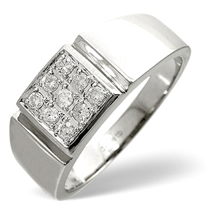 Mens Ring 0.33CT Diamond 9K White Gold