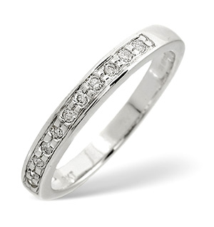 Half Eternity Ring 0.11CT Diamond 9K White Gold