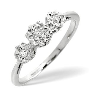 Trilogy Ring 0.10CT Diamond 9K White Gold