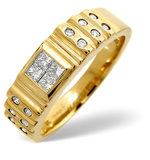 Mens Ring 0.56CT Diamond 9K Yellow Gold