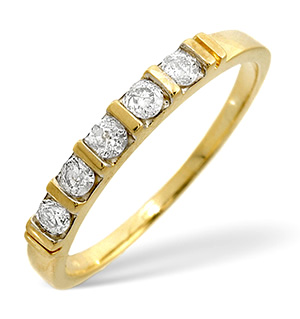 9K Gold Half Eternity Ring 0.24CT