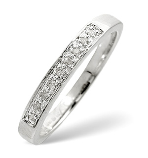 Half Eternity Ring 0.05CT Diamond 9K White Gold