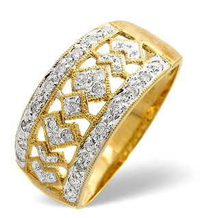 Wide Ring 0.25CT Diamond 9K Yellow Gold