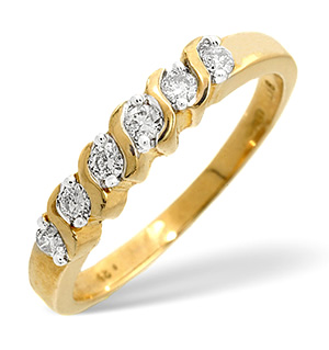 Half Eternity Ring 0.24CT Diamond 9K Yellow Gold