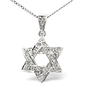 Diamond Star of David Necklace 0.14CT - 9K White Gold