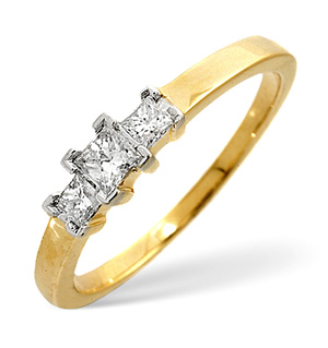 Trilogy Ring 0.25CT Diamond 9K Yellow Gold