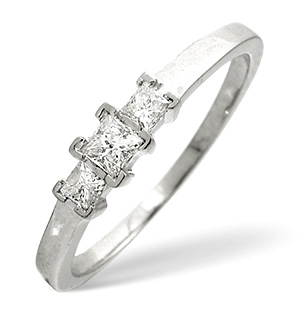 Trilogy Ring 0.25CT Diamond 9K White Gold