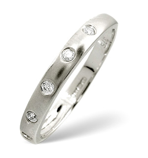 Half Eternity Ring 0.07CT Diamond 9K White Gold