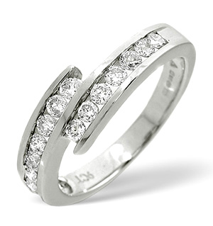 Cross-Over Ring 0.50CT Diamond 9K White Gold
