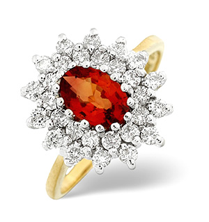 18K Gold Diamond Orange Sapphire Ring 0.56ct