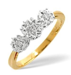 Trilogy Ring 0.10CT Diamond 9K Yellow Gold