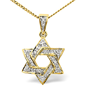 Diamond Star of David Necklace 0.14CT 9K Yellow Gold