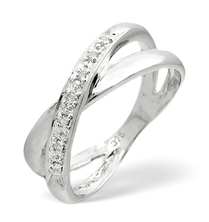 Cross-Over Ring 0.05CT Diamond 9K White Gold