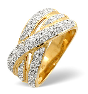 Wide Ring 0.50CT Diamond 9K Yellow Gold