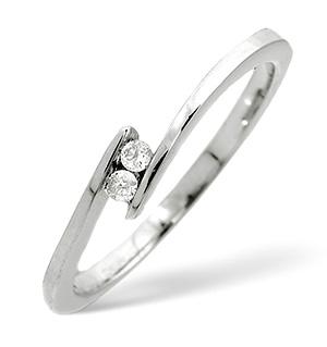 2 Stones Ring 0.05CT Diamond 9K White Gold
