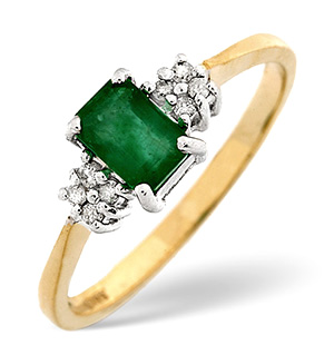 18K Gold Diamond and Emerald Ring 0.06ct