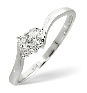 Cluster Ring 0.12CT Diamond 9K White Gold